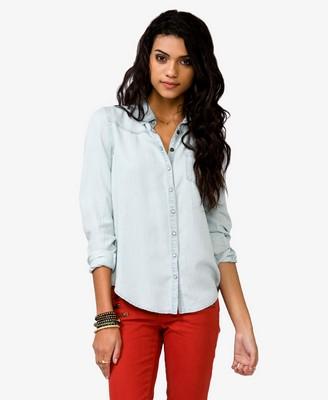 Pearl Snap Button Chambray Shirt