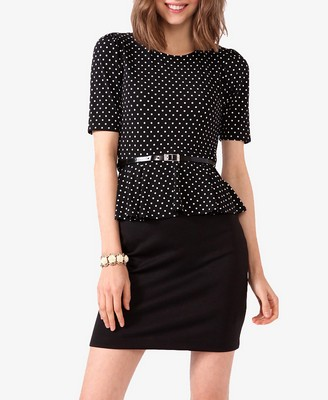 Polka Dot Peplum Dress with Belt