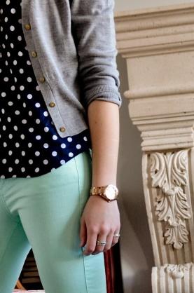 Polka dots, navy blue, and gray.  Ahhh!!!